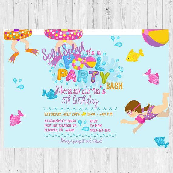 Pool Party Invitations Pool Party Invite Splish Splash Birthday