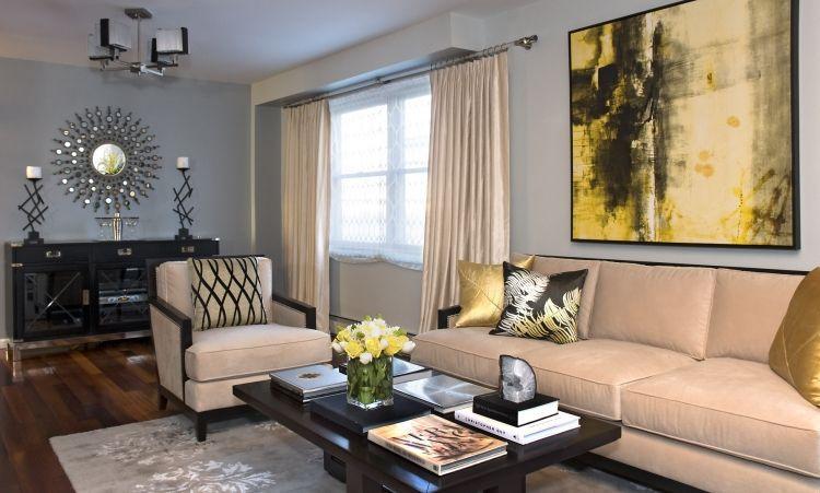 Salon-classique-meubles-beige-peinture-murale-gris-perle