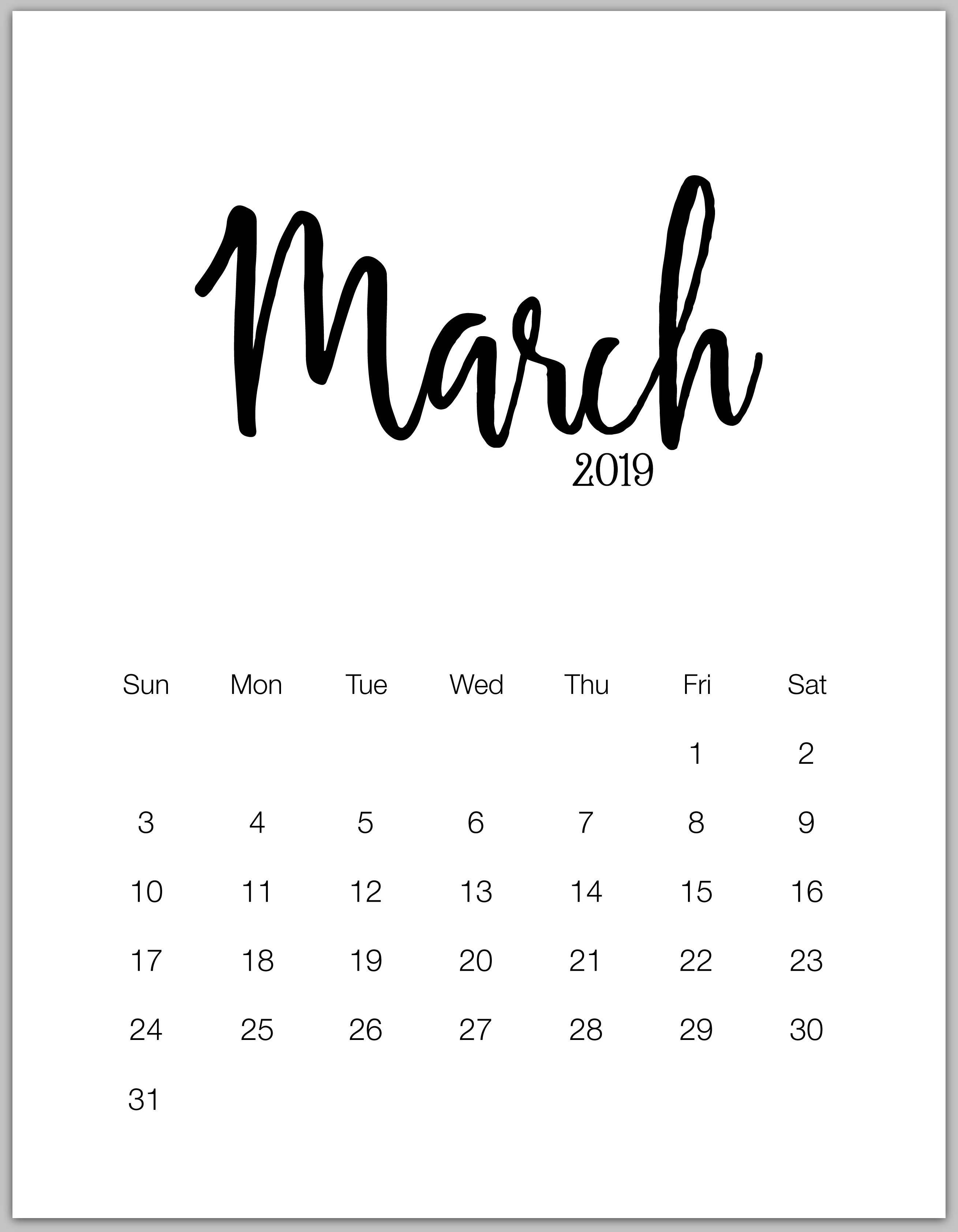 March Minimalist Calendar