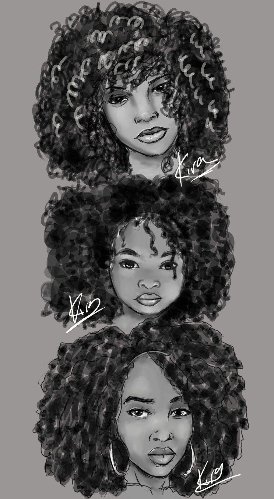 kiratheartist natural hair sketches
