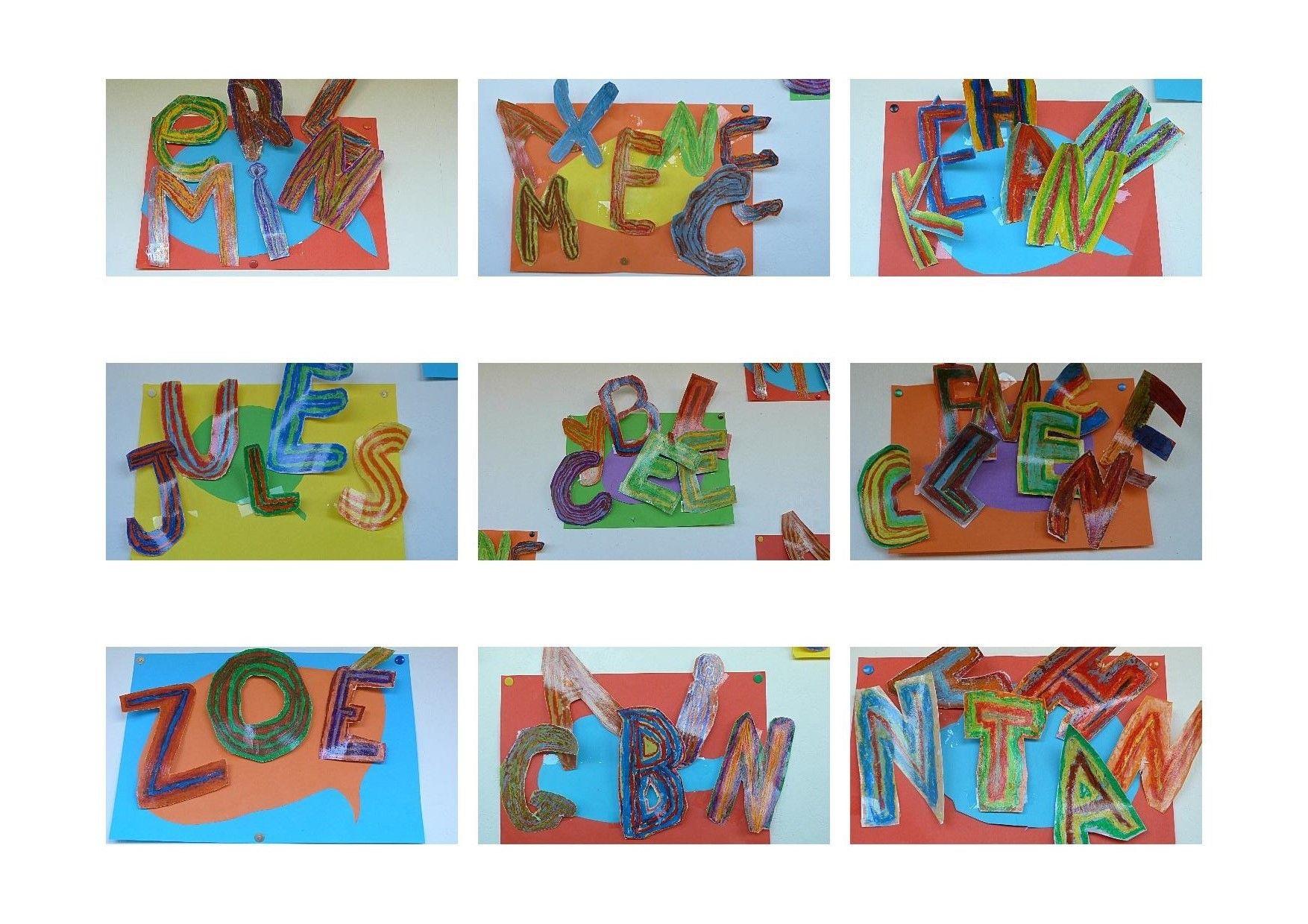 prénoms 3D craies grasses/ encre/ trombones et ruban adhésif, sur papier couleur... cartoon