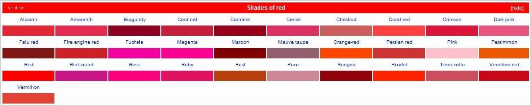 Different Shades Of Red shades of red | art (tutorials, exercises, and etc.) | pinterest