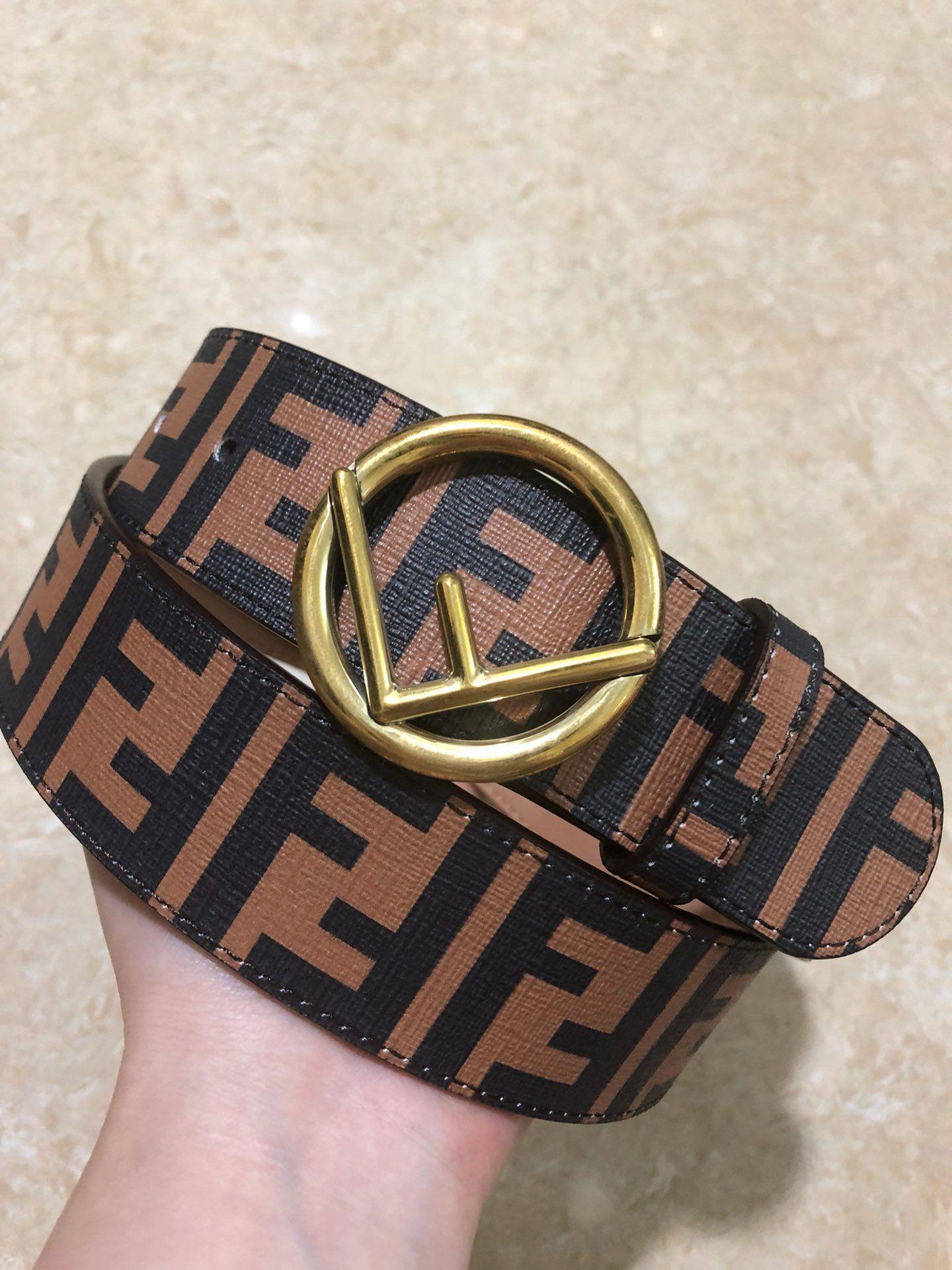 2018 Cheap Fendi FF logo leather beltbelt