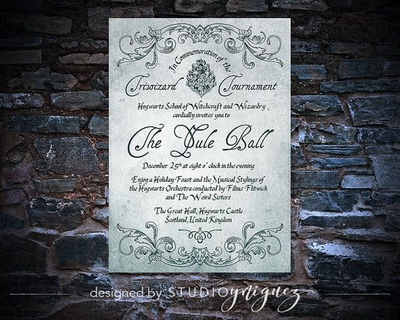 Yule Tide Ball Printable Invitation Winter Ball Printable 5 X 7