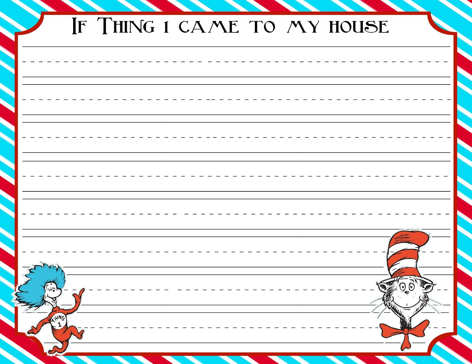 Here Is Some Dr Seuss Stationary The First Lined In Dr Seuss Printables Seuss Dr Seuss Day