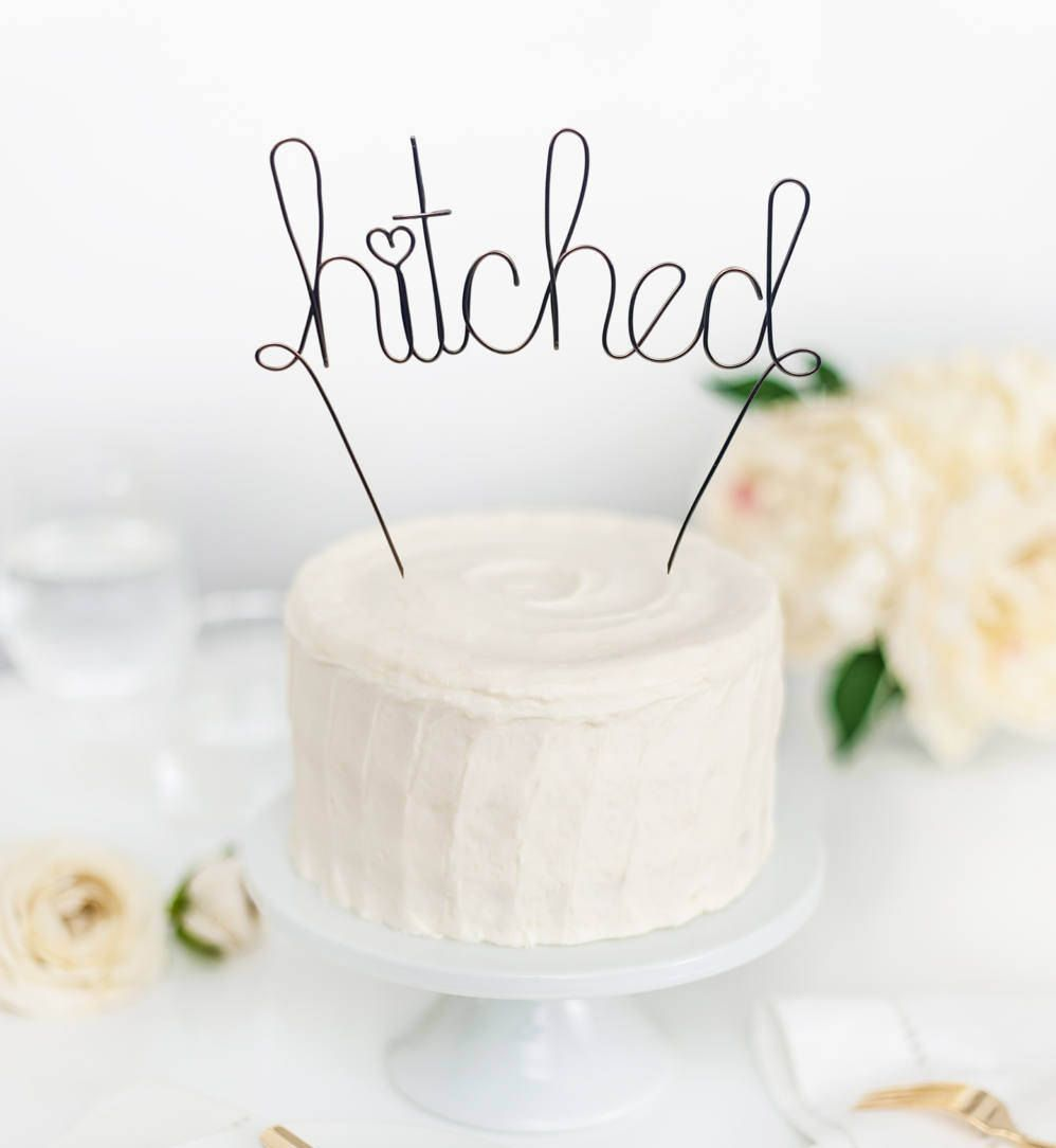 Weddings decorations wire cake topper hitched cake topper mr