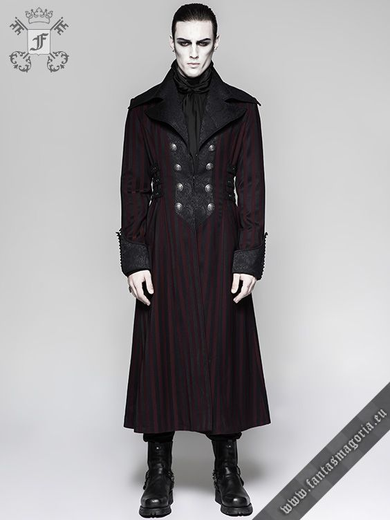 Steampunk Maroon /& Black Renaissance Punk Faux Leather Victorian Gothic Coat