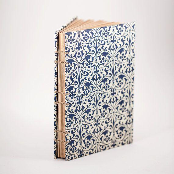 Blue Florentine Arabesque Design Blank Book, Tea Stained
