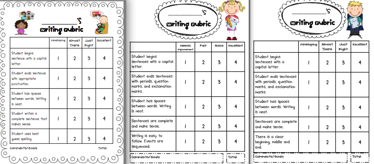 First Grade Writing Rubric Template  Clipart By Scrappindoodles