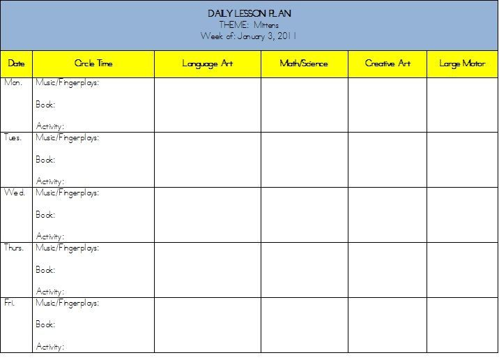 Planning Marvelous Mitten Activities For Preschool School - Monthly lesson plan template free