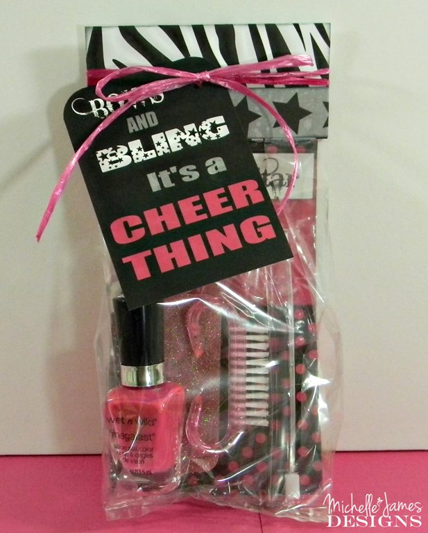Mani-Pedi Cheer Gift Bag - .michellejdesigns.com - This cheerleading collection is perfect for fun fancy gift bags! & Mani-Pedi Cheer Gift Bag | Cheer | Cheer gifts Cheer Cheer gift bags