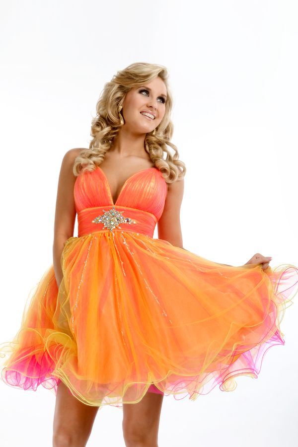 Neon Orange Short Prom Dresses