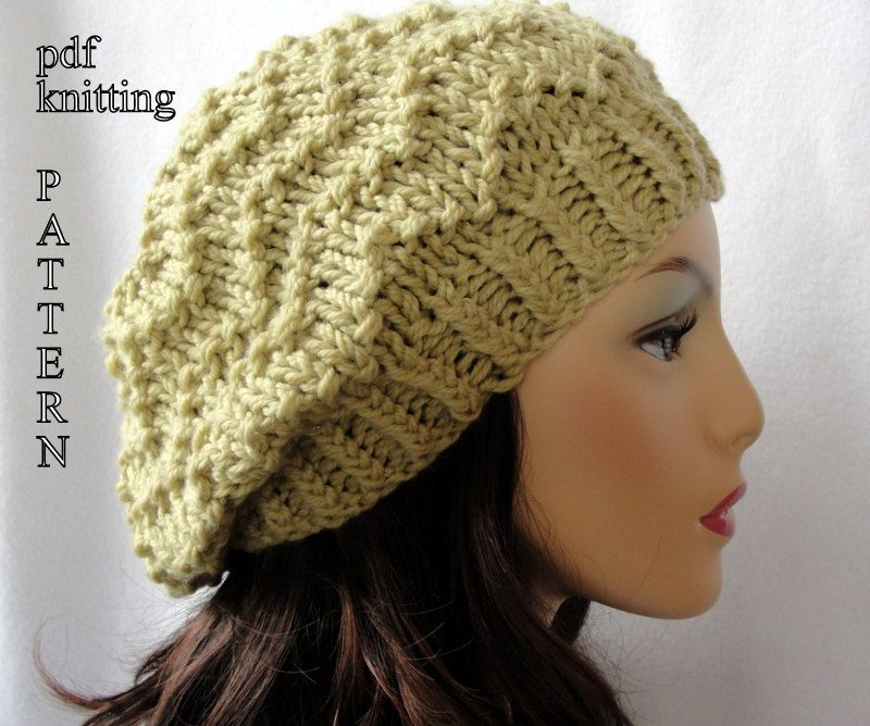 Knitted Hat Pattern Knit Slouch Beanie Pattern Knit Chevron Slouch