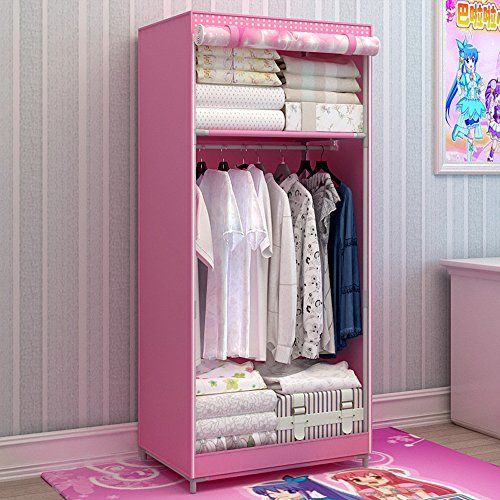 Generic Brand New Single Portable Dustproof Wardrobe Cartoon Closet For Kids Bedroom Furniture Bold Armoire With Fully Enclosed Cover