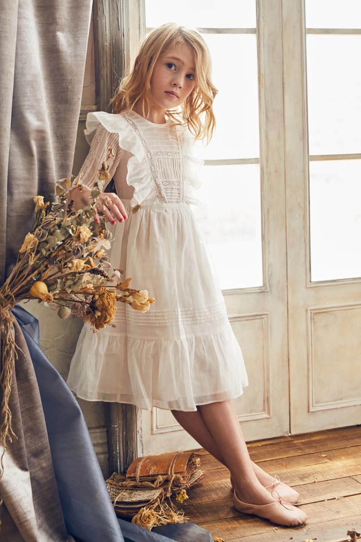 Nellystella Peach Girls Dress - Bright White in 2020