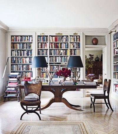 Those Leather Chairs Lynn Besbit Via Elle Decor Home Libraries