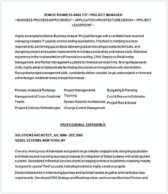 sample resume graduate business analyst