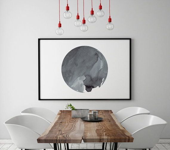 Abstract Art Horizontal Wall Art Printable Watercolor Painting Oversized  Large Planet Circle Housewarming Monochromatic Geometric Printable