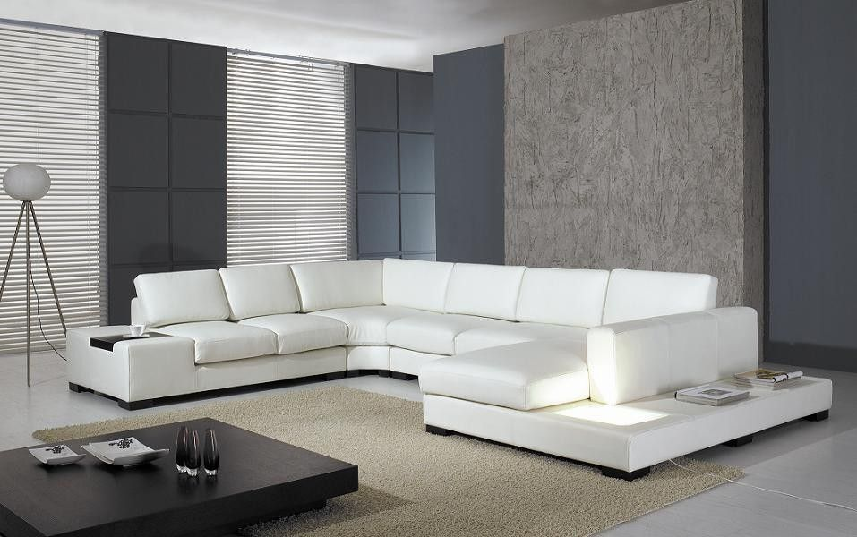 Enjoyable T35 White Leather Sectional Sofa With Lights For The Lamtechconsult Wood Chair Design Ideas Lamtechconsultcom
