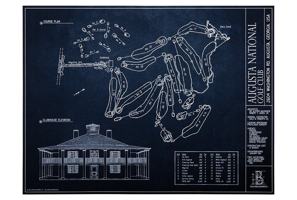 The Masters Augusta National Golf Club Blueprint