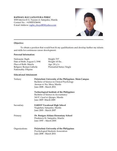 Exle Of Resume Format Philipines Post Date 15 Nov 2018 78 Source Http Resumesdesign Com Wp Job Resume Format Resume Format Sample Resume Format