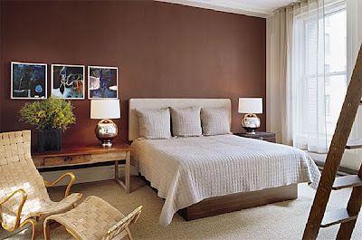 quarto de casal parede marrom
