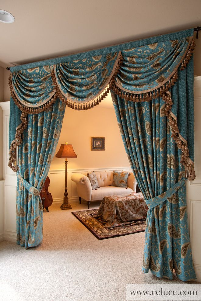 Captivating 2045_rocktheosa_curtains Valances Swags Living Room Traditional With Blue  Part 29