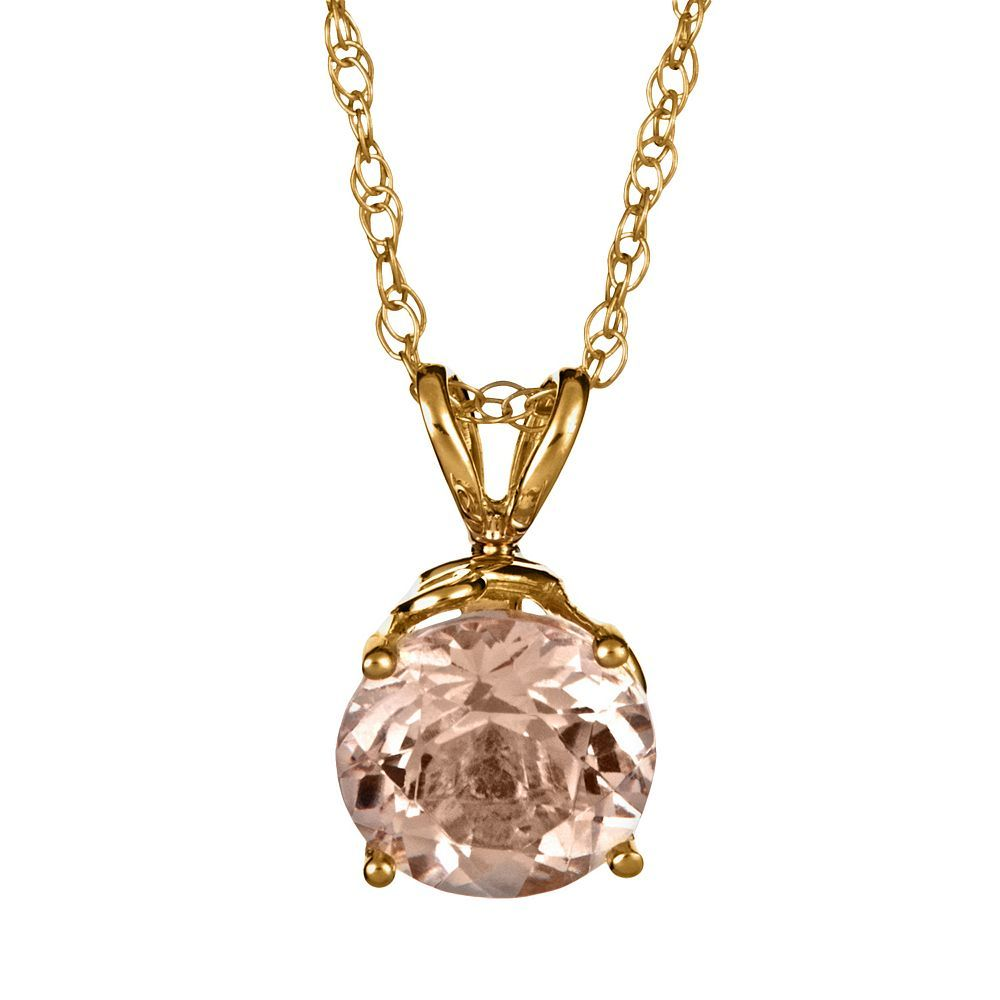 14k Gold Morganite Pendant, Pink