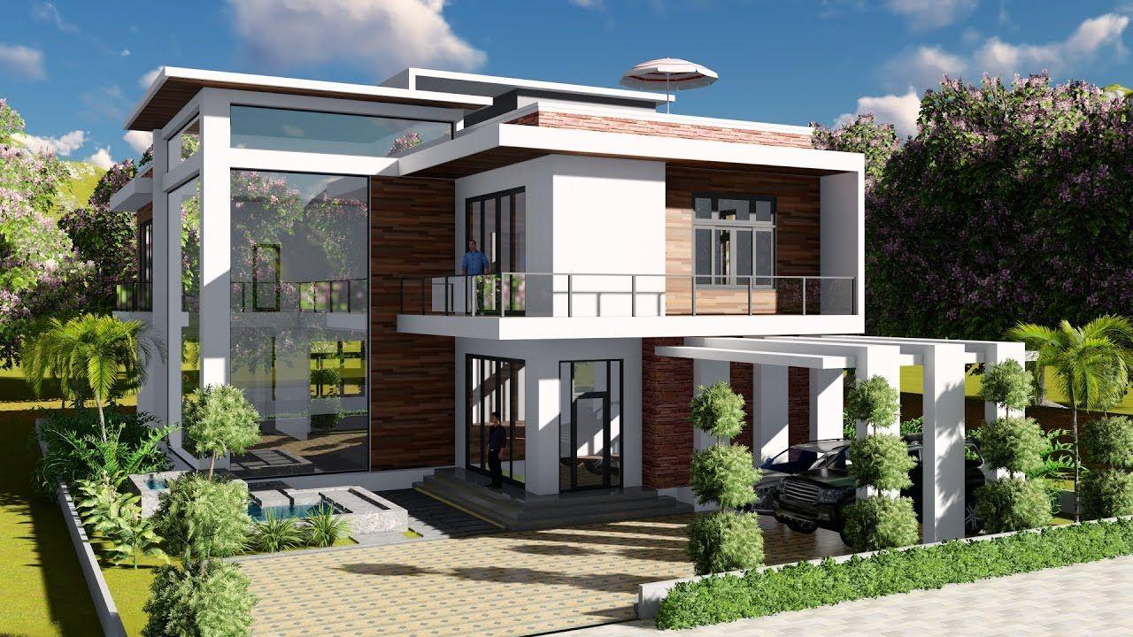Sketchup modeling lumion render 2 stories villa design size 13 8x19m 4