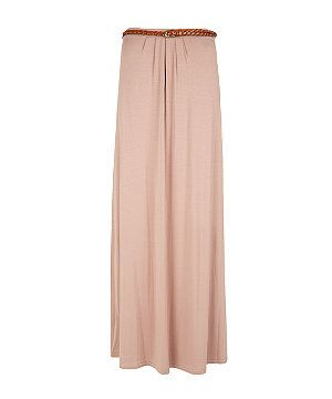 Nude Belted Jersey Maxi Skirt