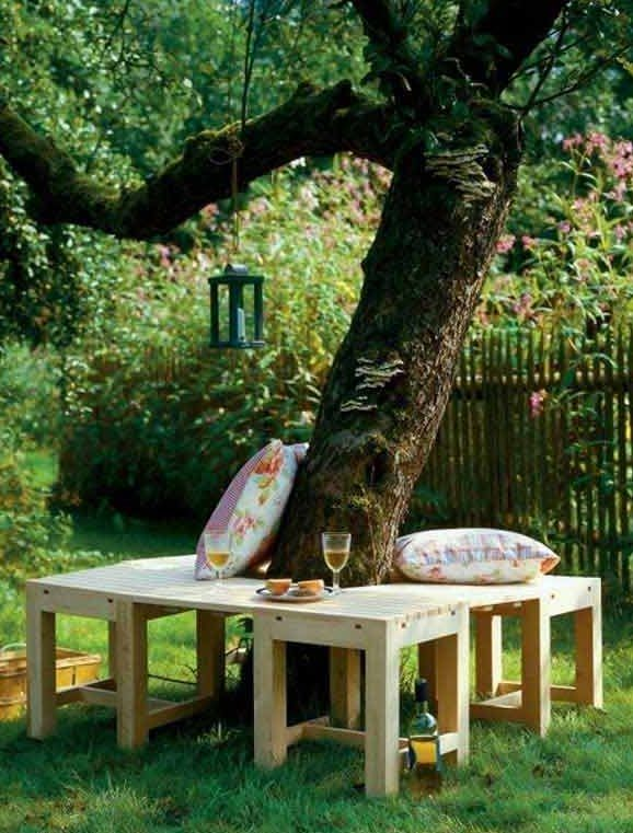 50 coole Garten Ideen für Gartenbank selber bauen um baum