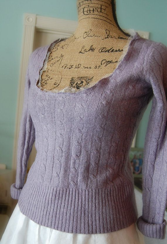 Wool Blend Sweater Altered Shabby Womens Small by OfLinenandLace, $38.50