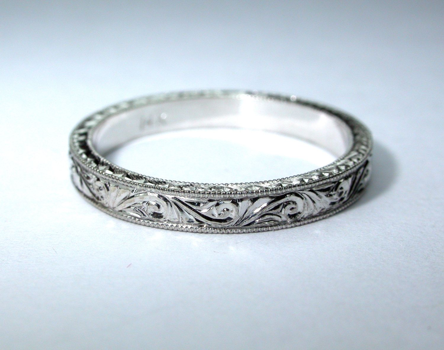 Hand Engraved 14k White Gold Wedding Band  by