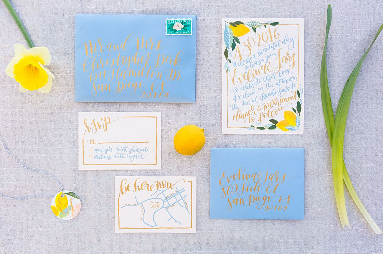 blue and yellow invitation