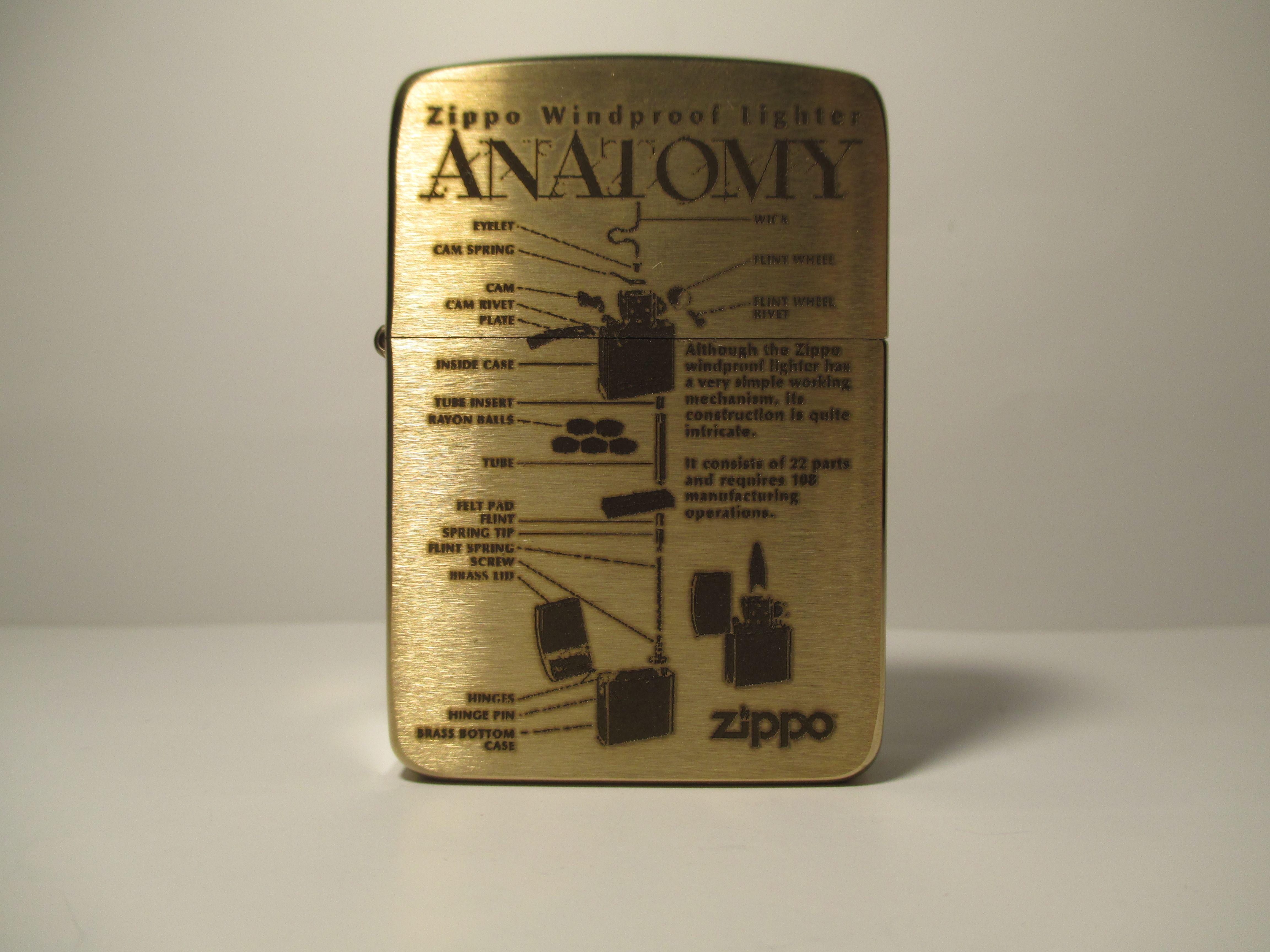 Zippo Anatomy 1941 Replica Brushed Brass Custom Deep Laser