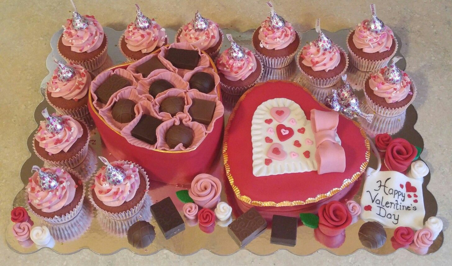 Valentine\'s Day Chocolate Candy Box Cake w/Red Velvet Cupcakes | My ...