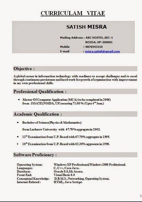 Free Professional Resume Sample Template Example Of Excellentcv Resume Curriculum Vitae With Career Objective For Mca In It Enginee Good Leadership Qualities Professional Resume Professional Resume Samples