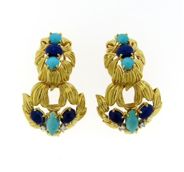 1960s 18K Gold Turquoise Lapis Diamond Doorknocker Earrings Featured in our upcoming auction on July 26!