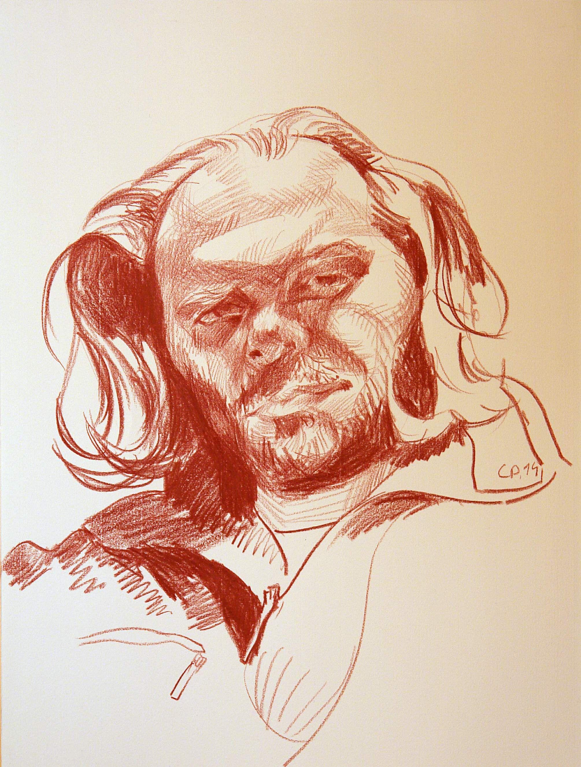 Self portrait, sanguine on paper