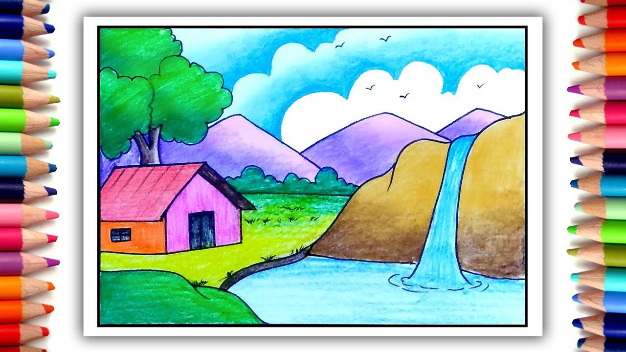 How To Draw Simple Scenery Easy Village Drawing Scenery Drawing In 2020 Village Drawing Oil Pastel Drawings Drawings