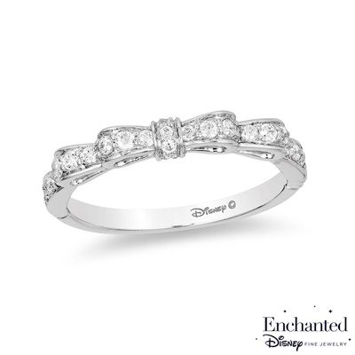 Enchanted Disney Snow White 1 4 Ct T W Diamond Bow Wedding Band In 14k White Gold Disney Fine Jewelry Enchanted Disney Fine Jewelry Disney Jewelry