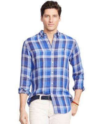 Polo Ralph Lauren Men'S Men'S Long Sleeve Plaid Linen Shirt, Blue Navy |  Polo ralph lauren and Polos