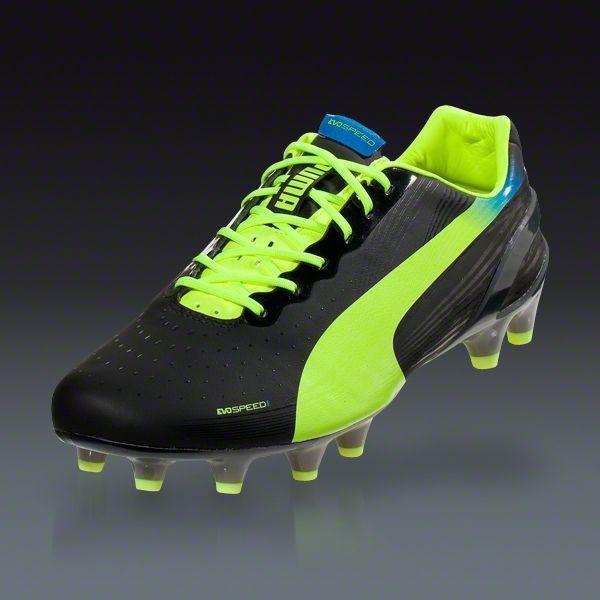 364181d130e PUMA evoSPEED 1.2 FG - Black Fluo Yellow Brilliant Blue Firm Ground Soccer  Shoes
