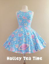 Saturns wish blue Skater Dress MADE TO ORDER from Holley Tea Time