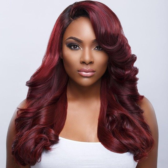 dark red two tone weave hairstyle