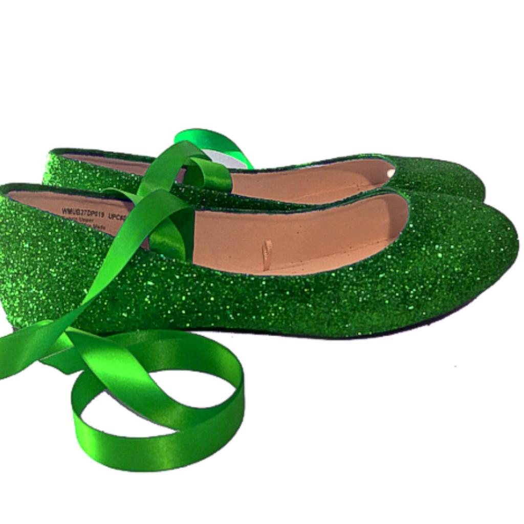 Women's Glitter Ballet Flats with Satin