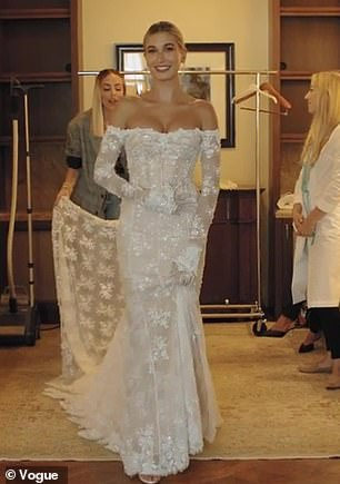Hailey Bieber Chose Virgil Abloh To Design Gown To Reflect Street Style In Final Dress Fit Wedding Dresses Unique Simple Wedding Gowns Gorgeous Wedding Dress