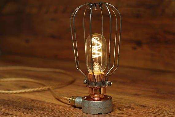 Steampunk Steel Conduit Metal Cage Light Set Fabric Flex Cable Cage Light Vintage Bulbs Vintage Lamps
