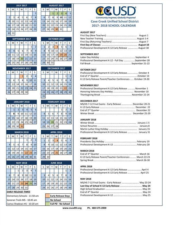 ccusd calendar News to Go Pinterest Cave creek, Kindergarten