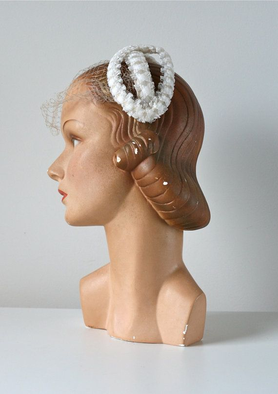 aab295de7c544 vintage 1950s wedding hat   vintage bridal hat and by Dronning
